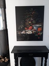 Klantfoto: Stilleven met fruit, oesters en porselein, Abraham Mignon, op canvas