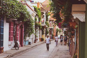 Kleurrijke straat in Cartagena van Ronne Vinkx