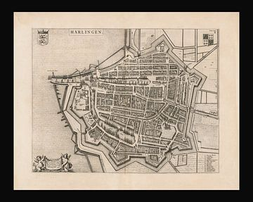 Oude kaart van Harlingen van omstreeks 1652 van Gert Hilbink