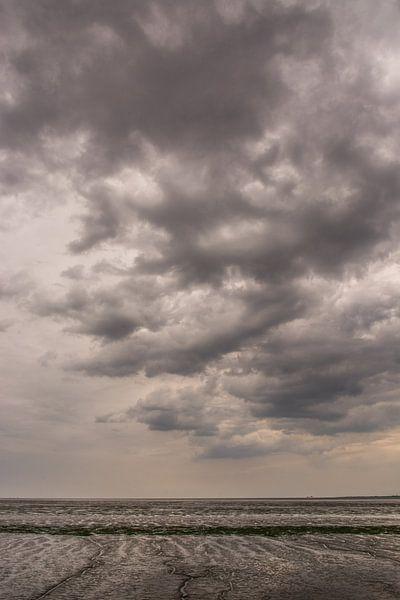 Dunkle Wolken über dem Wattenmeer. von Adri Vollenhouw
