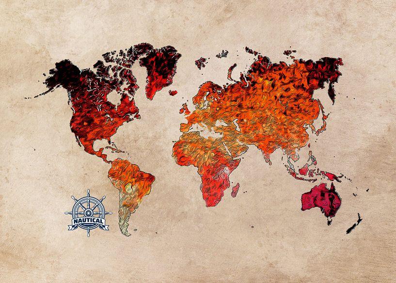 Weltkarte Kunst rot #Karte #Weltkarte von JBJart Justyna Jaszke