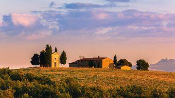 Sonnenuntergang Vitaleta-Kapelle, Toskana, Italien