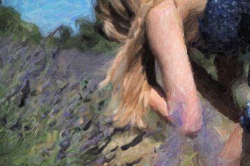 meisje in lavendelveld in de Provence van André Roodhuizen