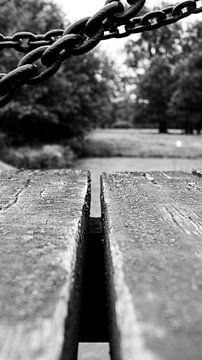 Nahaufnahme Holzbrücke Schloss Twickel. von Liv Jongman