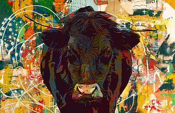 Bul-ly Cow I - zwarte koe met horens in weiland van Maureen Kroep