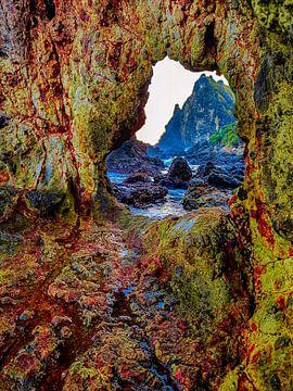 Digitale Malerei eines natürlichen Felsen mit Loch. von kall3bu
