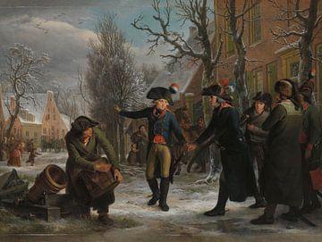 General Daendels verabschiedet sich von Oberstleutnant Krayenhoff, Adriaan de Lelie, 1795.