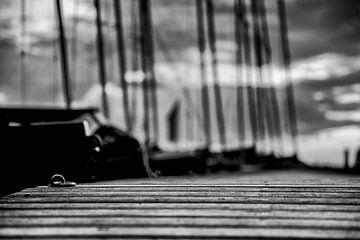 der Ring zum Festmachen liegt einsam auf dem Holz des Bootsstegs von Studio de Waay