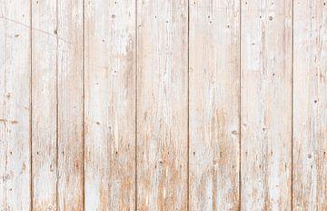 Oude witte en grijze houten planken achtergrond van Alex Winter