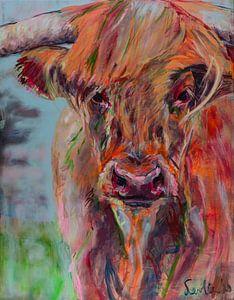 Schilderij van een portret van een Schotse Hooglander