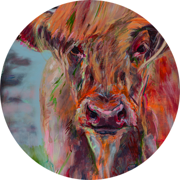 Schilderij van een portret van een Schotse Hooglander van Liesbeth Serlie