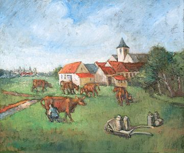 Koeien melken - Olieverf op doek - Pieter Ringoot van Galerie Ringoot