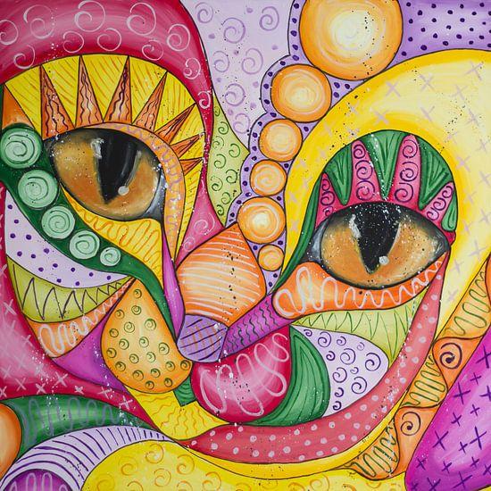 Colorful Cat-2 van Nathalie Snoeijen-van Eck