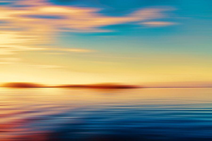 Zonsondergang zeegezicht eiland van Jan Brons
