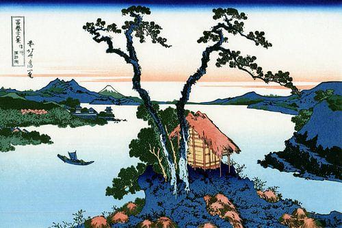 Het Suwa Meer in Shinano, Japan - Katsushika Hokusai van