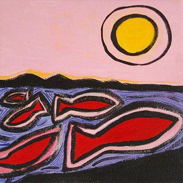 vissen en de zon 2 van Ivonne Sommer
