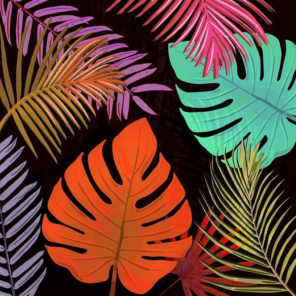 TROPICAL LEAVES & BLACK no2 van Pia Schneider