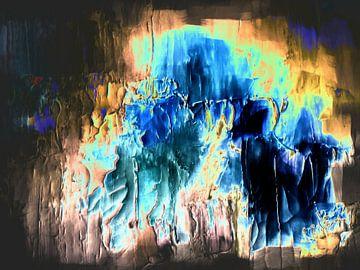 Abstract in blauw gele tinten