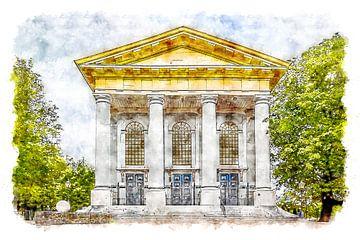 Neue Kirche in Zierikzee (Zeeland) (Aquarell) von Art by Jeronimo