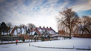 Schaatser in De Rijp van Jan van der Knaap