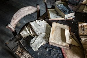 Oude school boeken op tafel