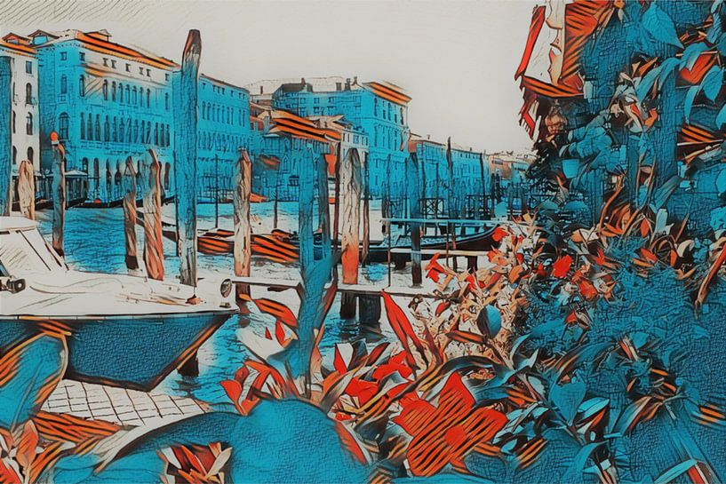Venise en bleu et en fleurs sur Loretta's Art