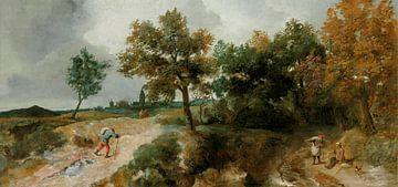 Heuvelachtig landschap met rustende boeren, Jan Lievens