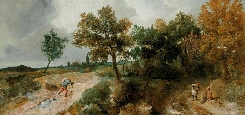Hügelige Landschaft mit ruhenden Bauern, Jan Lievens von Meesterlijcke Meesters