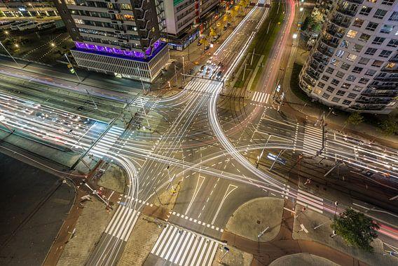 Het verkeersplein Vasteland in Rotterdam van MS Fotografie