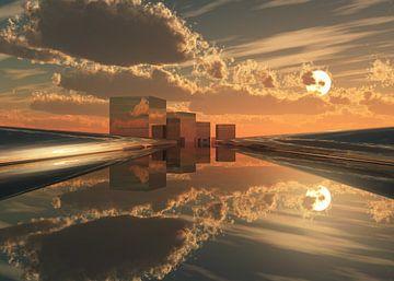 futuristische Architektur Stadt Q-City 5 von Max Steinwald