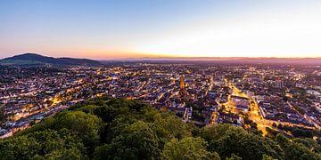 Skyline van Freiburg im Breisgau 's nachts van Werner Dieterich