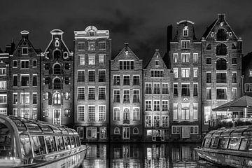 Damrak Amsterdam noir et blanc sur