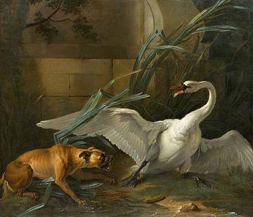 Schwan von einem Hund angegriffen, Jean-Baptiste Oudry