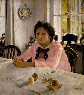 Mädchen mit Pfirsichen. Porträt von V.S.Mamontova, Valentin Serov