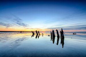 Zonsondergang boven het wad van Sjoerd van der Wal