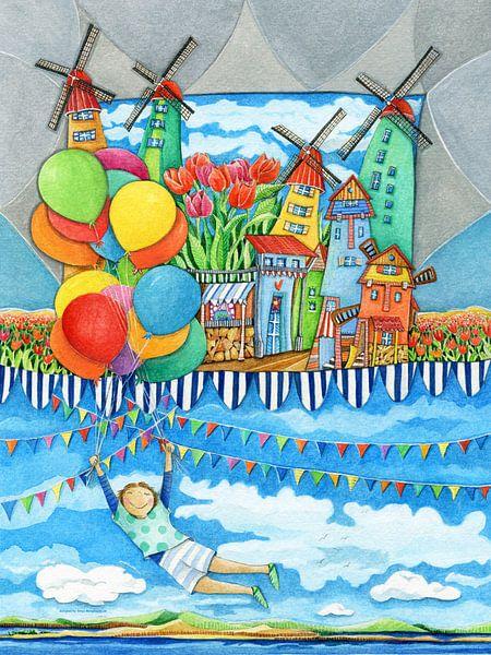 Windmolen Land - Kunst voor Kinderen van Atelier BuntePunkt
