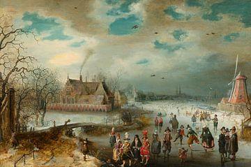 Patinage sur la rivière Amstel gelée, Adam van Breen