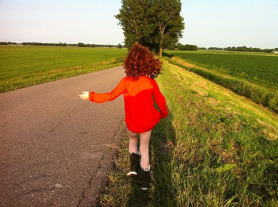 Girl in red van  Shirley Brandeis