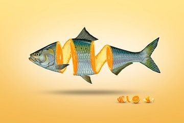 Geteilter Fisch mit Orange - Manipulation von Ursula Di Chito
