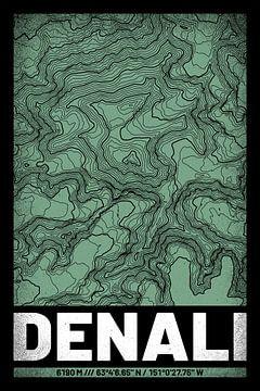 Denali | Landkarte Topografie (Grunge) von ViaMapia