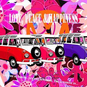 VW-busjes op roze flowerpower achtergrond