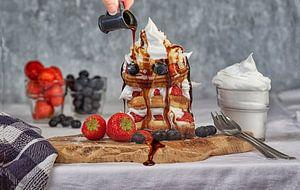 Food foto Pancake toetje met slagroom van