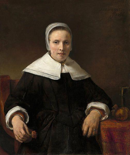 Een vrouw met een Roze, Rembrandt van Rembrandt van Rijn