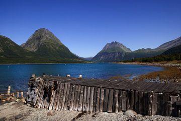 Oude steiger aan een van de fjorden in Noorwegen van Coos Photography