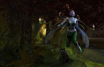De Groene vrouw met zwarte kat