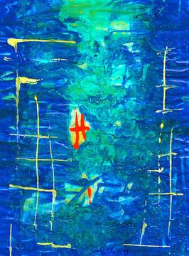 Blauwe abstractie met oranje lijnen en helder rooster van Johann Bucher