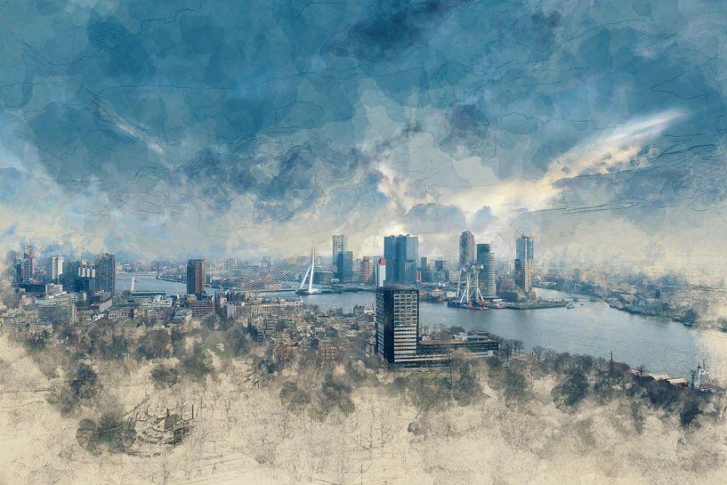 Skyline Rotterdam van Arjen Roos