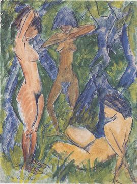 Drie vrouwelijke naakten, Otto Mueller - ca1920 van Atelier Liesjes