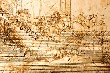 Perspektivische Studie zur Anbetung der Könige von Pieter van der Zweep