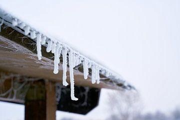 Ijspegels op het dak van een huis in een koude winter van Heiko Kueverling